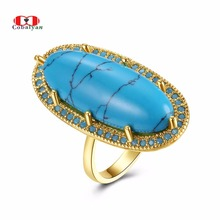 Allencoco Men Rings Classic Turquoise Texture Stone Personality Feast Finger Rings Jewelry for Women and Men Full Sizes