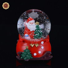 WR Christmas Decor LED Light Snow Globe Merry Christmas Music Box Birthday Gift Free Shipping 12.5X7cm Home Office Decor