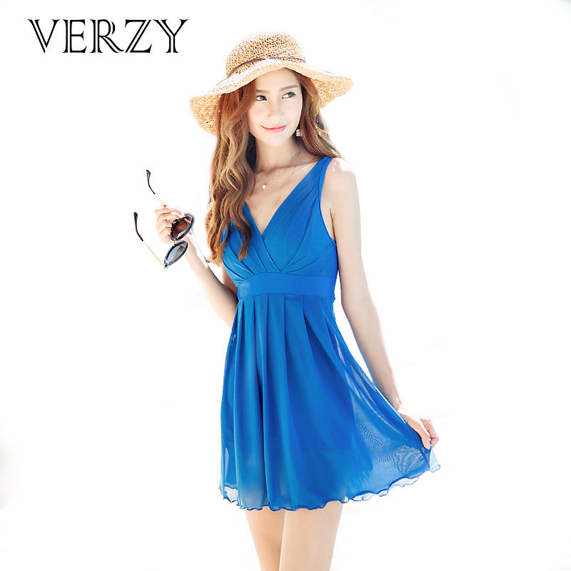 Plus size swimwear women pool seaside hot spring swimsuits solid 3 colors deep v-neck beach dress backless swim suit elastic<br>