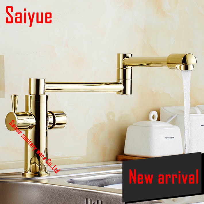 1080 degree rotating kitchen sink faucet mixer tap dual handle single hole deck mounted gold oil rubbed bronze antique black<br><br>Aliexpress