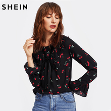 SHEIN Cherry Print Bell Cuff Frilled Top Autumn Womens Printed Blouse Black Long Sleeve Ruffle Bow Front Cute Blouse(China)