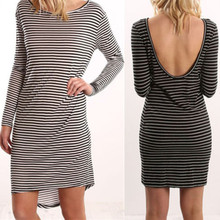 Fashion Women's Sexy Slim Bodycon Dress LongSleeve Club Wear Striped Mini Dresses Backless Clothes