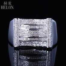 HELON Top Mens Pave 0.7ct 100% Genuine Natural Diamonds Ring Sterling Silver 925 Engagement Wedding Fashion Band Pinky Ring(China)