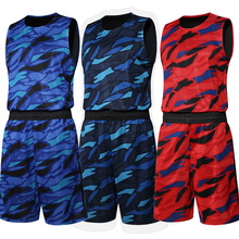 New Men Basketball Jersey Set With Shorts Camouflage Sport Training Basketball Suits Reversible Big Size Can Customized
