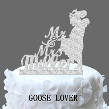 Funny Wedding Monogram Cake Topper, Mr&Mrs Groom And Bride Silhouette Cake Topper, Personalize Last Name Acrylic Cake Topper