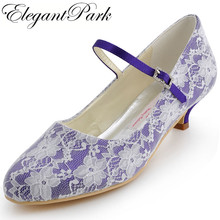 EP100120 Sweet Women Wedding Shoes Purple Blue Round Toe Buckle Low Heel Lace Bride Bridesmaids Prom Evening Bridal Pumps Ivory(China)
