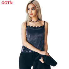 OOTN Cotton Velvet Camis Lace Top Female Slip Crop Tops Women Camisole Autumn Lace Halter Top Tank Top Bule Black Cropped Velvet(China)