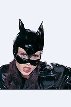 2016 Fashion Black Patent Leather Mask Batman Bodysuit Masks CatWoman Face Animal Themed Halloween Lady Cosplay Costume