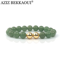 Newest Top Quality Natural Green Aventurine Stone with Gold Color Round Beads Beautiful bracelet women ladies Jewelry Gift B028