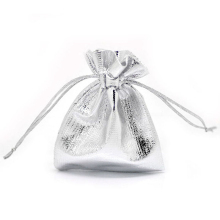 MJARTORIA Wholesale 100PCs Little Satin Gift Bags 9x7cm Silver Color Drawstring Pouches For Jewelry Package Storage Organizer