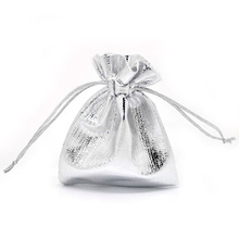 MJARTORIA Wholesale 100PCs Little Satin Gift Bags 9x7cm Silver Color Drawstring Pouches For Jewelry Package Storage Organizer(China)