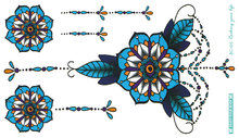 BC-105/Latest Blue Mandala Flower Tattoo Waterproof Body Chest Fresh Temporary Magic Spots Art StickersTattoos Big Tatuagem