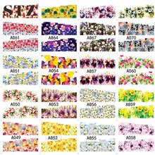 STZ 1 Sheets Mix Full Cover Water Transfer White/Black/Colorful Nail Sticker Flowers Nail Art Wraps Decals DIY Manicure A049-079