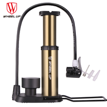 WHEEL UP 2017 New Arrival Mini Portable High Pressure Bicycle Pump With Gauge MTB Mountain Road 120 Psi Aluminum Light Bike Pump(China)