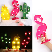 LemonBest 3D LED Flamingo Lamp Pineapple Cactus Light Romantic Night Lamp Table Lamp LED Nightlight Home Christmas Decoration