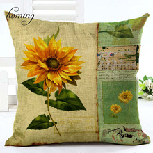 Homing New Arrival Sunflower Vintage Floral Cushion Cover Pattern Colorful Flower Print Cushion Cover Handmade with Zipper