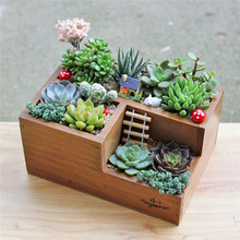 Home decorative small wooden garden floor standing flower pot planter flowers nursery pots planters plant storage organizer box