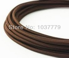 Free shipping lamp accessories DIY pendant cord 5meter/lot brown color vintage fabric cable textile power cord(China)