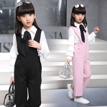 2017 spring girls clothe set Suspenders Long sleeves T-shirt+pants girl trumpet pants primer shirt children's clothing sets
