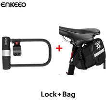 Enkeeo Cycling U Lock Cycling Bag MTB Road Bike Helmet Lock Bicycle Prevent Theft Lock Safety Security Tools With Bicycle Bag