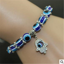2017 New Fashion Simple  Evil Eye Hamsa hand religious charm blue beads Lucky  bracelet  Best Match Turkish bracelet for women