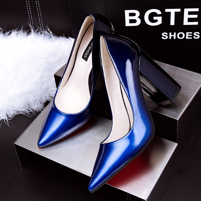 Shoes woman high-heel mature women pumps leather sexy square heel women pointed toe heels high quality shoes women brand<br><br>Aliexpress