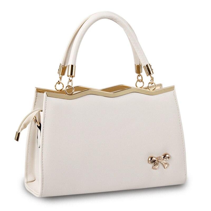 Fashion Beige PU Office Lady Shoulder Bag Wave Lovely Bownot Decoration Casual Women Handbag Crossbody Clutch Zipper<br>