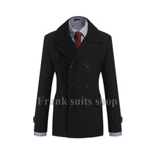 Custom made 2017 New design Black woolen Trench coat men fashion Slim Fit Outerwear Mens Coat Warm Winter Overcoat(China)
