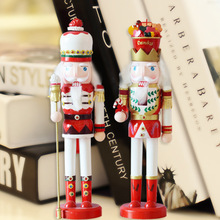 Creative Home Decoration Wooden Christmas Gift The Nutcracker Model Happiness Furnishing Articles Carving Wood Painting Crafts