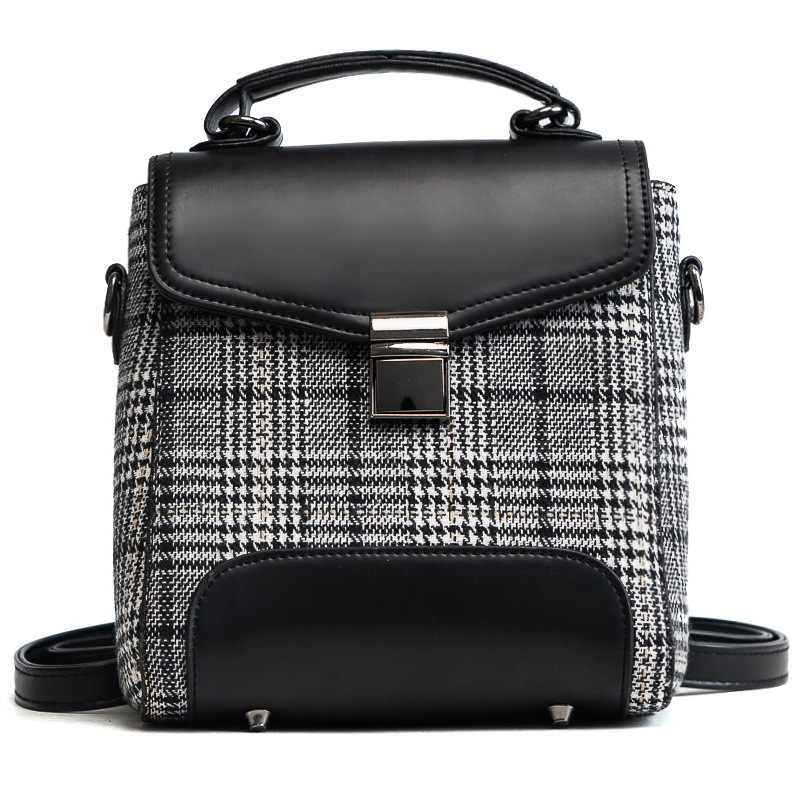 New Plaid Backpack Fashion 3D Backpack Bag Lock Cotton Backpack For Women<br>