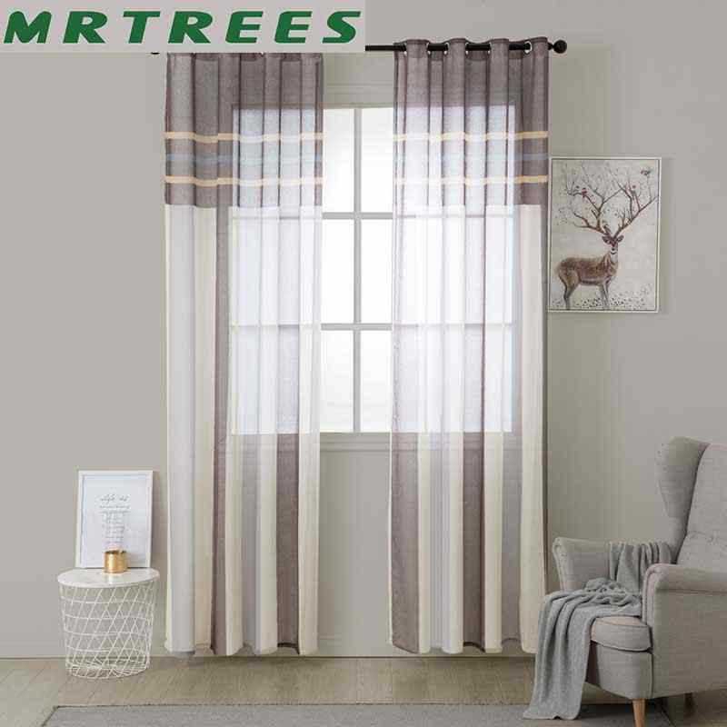 MRTREES Striped Tulle Window Curtains for Living Room Kitchen Modern Tulle Curtains for The Bedroom Window Curtain Fabric Drapes