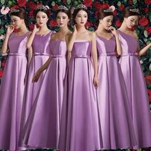 Brand New 2017 Purple/Sky Blue/Champagne Boat Neck Off the Shoulder Empire Wedding Party Floor-Length Bridesmaid Dresses LQE154