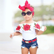 COMFY KIDS Fashion Hot Selling Clothing Newborn Toddler Kids Baby Girls Off Shoulder 3D Rose Flower T Shirt Tops Outfits Clothes