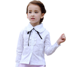blouse girls children 2017 new fashion white blouse girl turn down collar solid girls blouse and shirts cute kids shirts 3 color