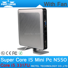 8G RAM only Partaker N550 Mini PC with Intel Core I5 3317U Processor Ultra Low Power Ubuntu Mini PC with Fan Linux(China)