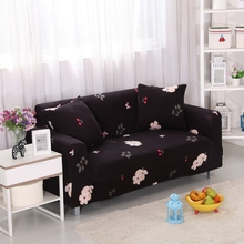 100% polyester black flowers printing stretch sofa cover multi-size corner sofa cover for living room couch sofa slipcovers