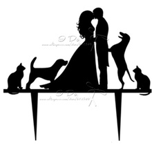 Free Shipping Acrylic Bride & Groom With Dog Wedding Cake Topper/wedding Cake Stand/wedding Decoration/cake Decorating Supplies