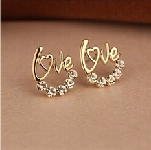 Special offer Fine Earrings Accessories Wholesale Fashion Rhinestone Gold-color LOVE Letter Stud Earring For Woman
