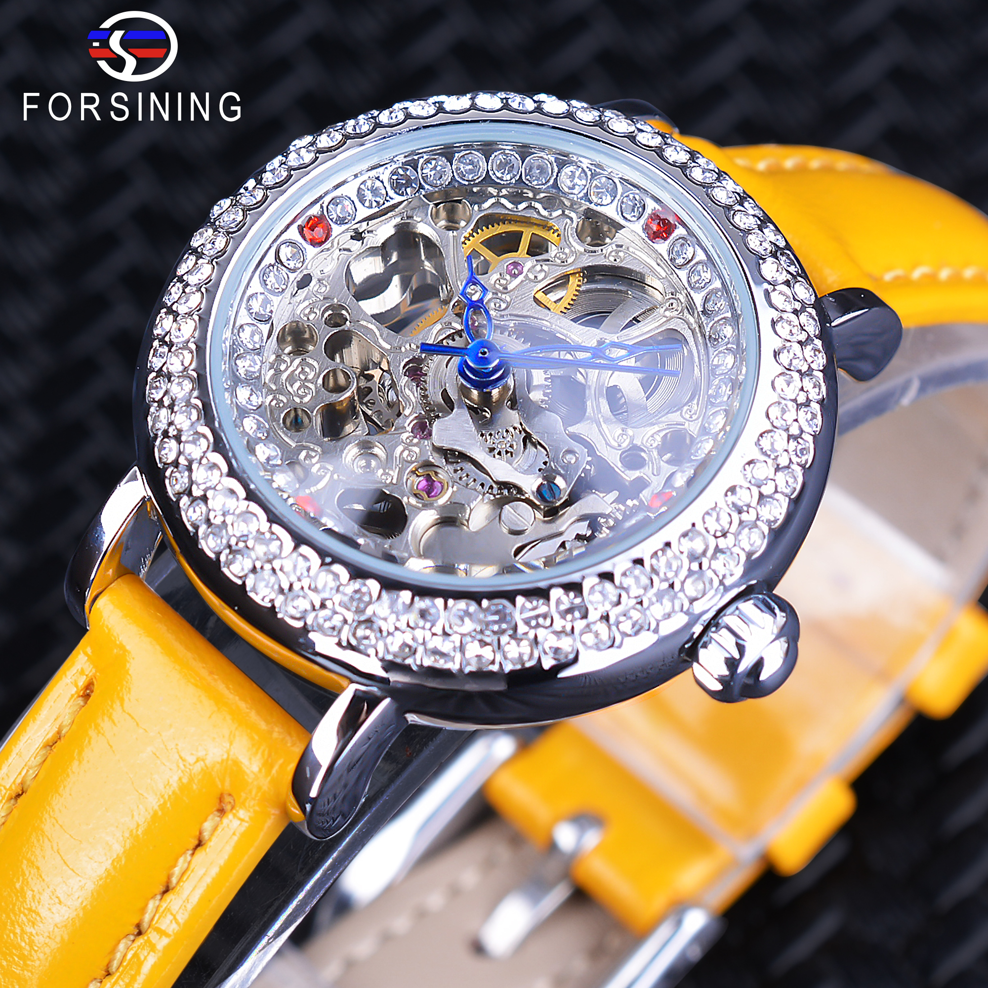 Forsining Yellow Genuine Leather Transparent Flower Back Lady Fashion Skeleton Diamond Female Clock Women Mechanical Watches<br>