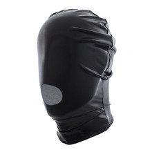 Buy 2017 New adult Sexy Lingerie Faux Leather Latex Fetish Open Mouth Sexy Mask Spandex Head Bondage Hood unisex Sexy Toys Costumes