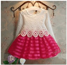 Infant Kids Girls Crochet Lace Wedding Birthday Party Tulle Tutu Princess Dress Rose Red 3-8Y(China)