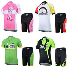 Kids Cycling Clothing Short Sleeve Summer Cycling Jersey Set for Boys Girls MTB Bike Bicycle Ropa Children Bike Wear(China)