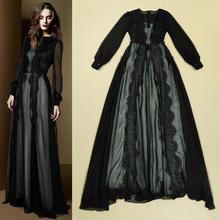 black lace dress sexy see through sheer long sleeve floor length a line maxi long shirt dress summer ladies party dress sale