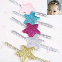 Newborn Baby Girl Sparkly Elastic Ribbon Hair Band  Glitter Star Headband Birthday Gift Blue Gold Pink Rose Silver