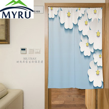 MYRU 3D Aesthetic Flowers Sky Blue Door Curtain Polyester Decorative Partition Mould Proof Shade Door Curatin 85x120cm(China)