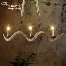 Vintage American country Iron Pendant Lights rope creative personality 3 Garden restaurant cafe bar Pendant lamp