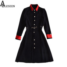 Career Black Dresses Fashion Korea 2017 Autumn Winter Slim Turn-down Collar Full Sleeve Elegant Slim Ladies Noble Dress(China)