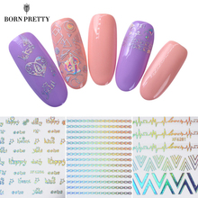 23Pcs Holorgaphic 3D Nail Sticker Set Cute Animal Letter Star Number Heart Cat Adhesive Transfer Sticker ManicureNail Art Decora(China)