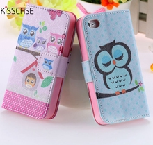 KISSCASE For iPhone 4s Case Chic Wallet Stand Flip Leather Case For iPhone 4s 4 4G Bird Crown Phone Accessories Owl Cute Cover(China)