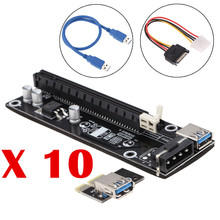10pcs USB 3.0 PCI-E Riser PCI E Express 1X to 16X Extender Card Board Adapter Cable SATA 15Pin-6Pin Power for bitcoin mining